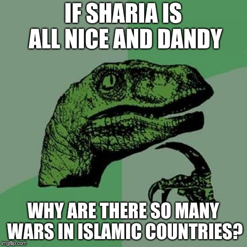 Why would Muslims flock to non-Muslim countries? | IF SHARIA IS ALL NICE AND DANDY WHY ARE THERE SO MANY WARS IN ISLAMIC COUNTRIES? | image tagged in memes,philosoraptor,islam,hypocrisy | made w/ Imgflip meme maker