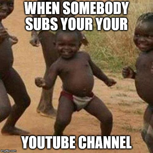 Third World Success Kid Meme | WHEN SOMEBODY SUBS YOUR YOUR YOUTUBE CHANNEL | image tagged in memes,third world success kid | made w/ Imgflip meme maker
