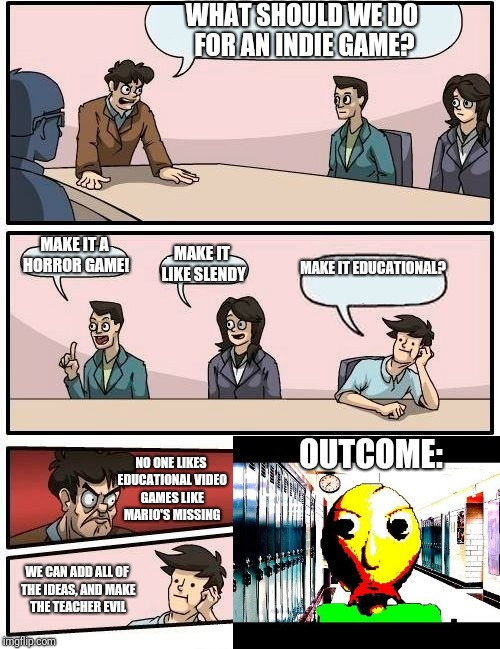 How Baldi's Basics came to life | WHAT SHOULD WE DO FOR AN INDIE GAME? MAKE IT A HORROR GAME! MAKE IT LIKE SLENDY MAKE IT EDUCATIONAL? WE CAN ADD ALL OF THE IDEAS, AND MAKE T | image tagged in memes,boardroom meeting suggestion,baldi's basics | made w/ Imgflip meme maker