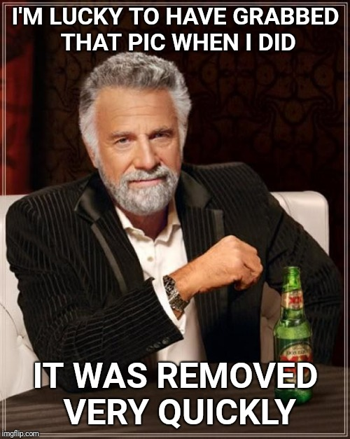 The Most Interesting Man In The World Meme | I'M LUCKY TO HAVE GRABBED THAT PIC WHEN I DID IT WAS REMOVED VERY QUICKLY | image tagged in memes,the most interesting man in the world | made w/ Imgflip meme maker