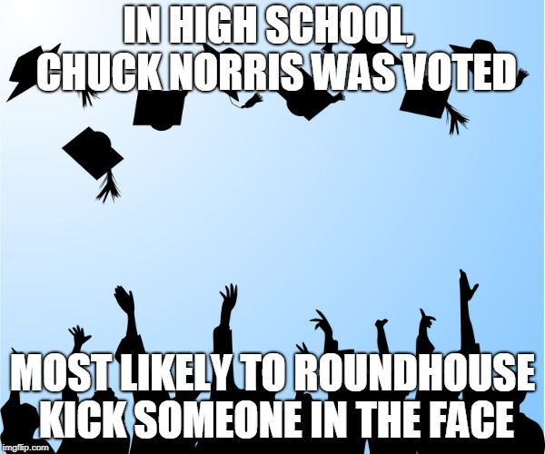 Chuck Norris Most Likely | IN HIGH SCHOOL,  CHUCK NORRIS WAS VOTED MOST LIKELY TO ROUNDHOUSE KICK SOMEONE IN THE FACE | image tagged in graduation,memes,chuck norris,high school | made w/ Imgflip meme maker