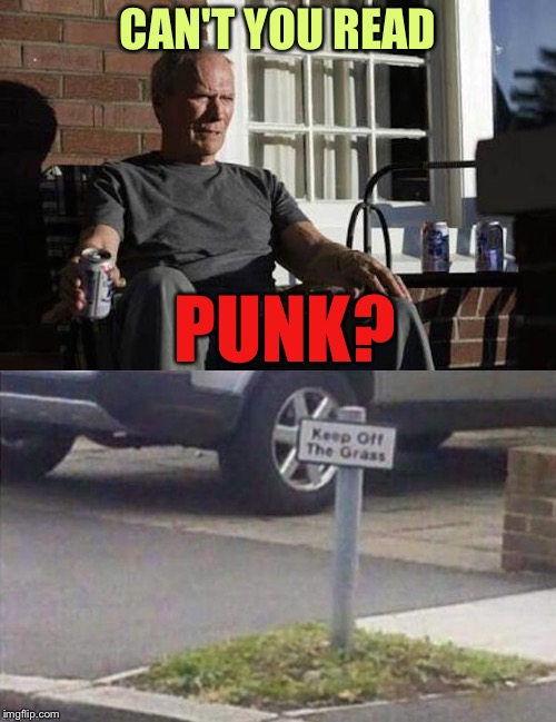 It's a small patch, but it's my patch. | CAN'T YOU READ PUNK? | image tagged in clint eastwood,keep off the grass,memes,funny | made w/ Imgflip meme maker