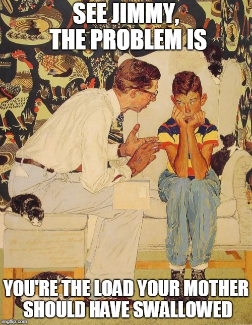 The Probelm Is Meme | SEE JIMMY, THE PROBLEM IS YOU'RE THE LOAD YOUR MOTHER SHOULD HAVE SWALLOWED | image tagged in memes,the probelm is | made w/ Imgflip meme maker