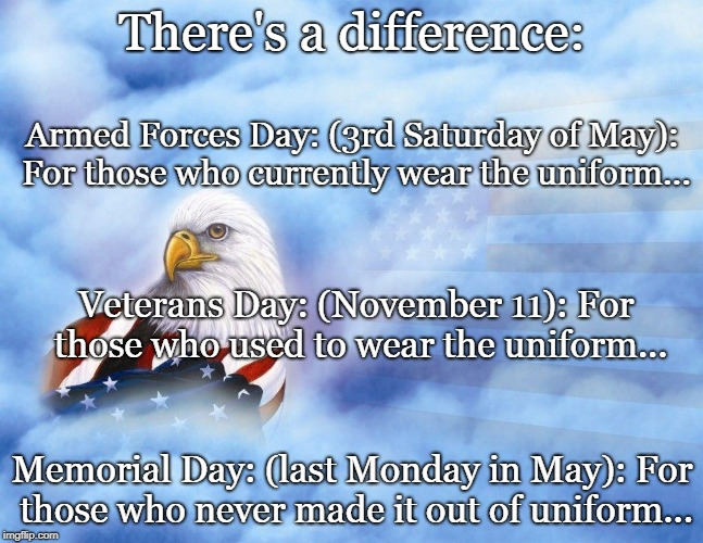 There is a difference... | There's a difference: Memorial Day: (last Monday in May): For those who never made it out of uniform... Armed Forces Day: (3rd Saturday of M | image tagged in armed forces day,veterans day,memorial day | made w/ Imgflip meme maker