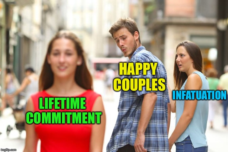 Distracted Boyfriend Meme | LIFETIME COMMITMENT HAPPY COUPLES INFATUATION | image tagged in memes,distracted boyfriend | made w/ Imgflip meme maker
