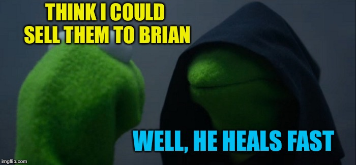 Evil Kermit Meme | THINK I COULD SELL THEM TO BRIAN WELL, HE HEALS FAST | image tagged in memes,evil kermit | made w/ Imgflip meme maker