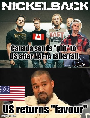 "Canada US NAFTA Negotiations Halt After Gift Exchange | Canada sends ""gift"" to US after NAFTA talks fail US returns ""favour"" 