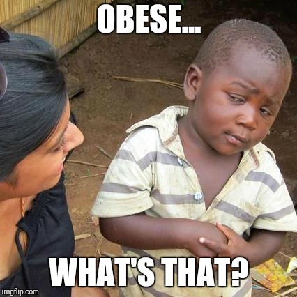 Third World Skeptical Kid Meme | OBESE... WHAT'S THAT? | image tagged in memes,third world skeptical kid | made w/ Imgflip meme maker