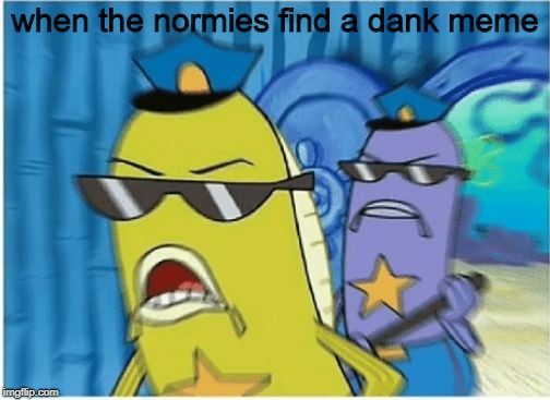 when the normies find a dank meme | image tagged in spongebob police | made w/ Imgflip meme maker