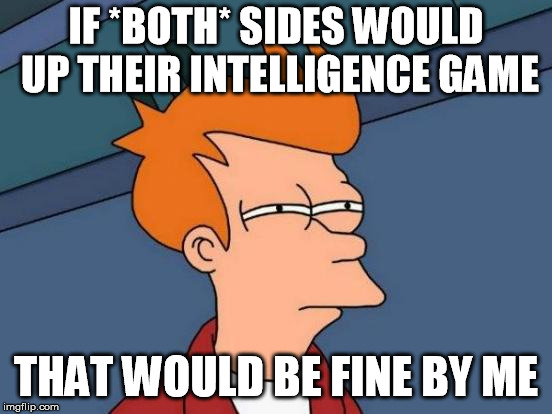 Futurama Fry Meme | IF *BOTH* SIDES WOULD UP THEIR INTELLIGENCE GAME THAT WOULD BE FINE BY ME | image tagged in memes,futurama fry | made w/ Imgflip meme maker