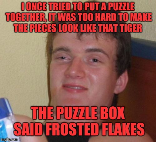 10 Guy Meme | I ONCE TRIED TO PUT A PUZZLE TOGETHER, IT WAS TOO HARD TO MAKE THE PIECES LOOK LIKE THAT TIGER THE PUZZLE BOX SAID FROSTED FLAKES | image tagged in memes,10 guy | made w/ Imgflip meme maker