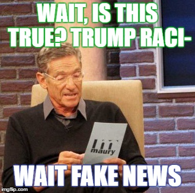 Maury Lie Detector Meme | WAIT, IS THIS TRUE? TRUMP RACI- WAIT FAKE NEWS | image tagged in memes,maury lie detector | made w/ Imgflip meme maker