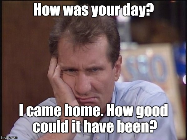 How was your day | How was your day? I came home. How good could it have been? | image tagged in al bundy | made w/ Imgflip meme maker