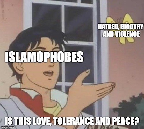 This Is What Islamophobes Really Think | ISLAMOPHOBES IS THIS LOVE, TOLERANCE AND PEACE? HATRED, BIGOTRY AND VIOLENCE | image tagged in is this a pigeon,islamophobia,stupid people,hatred,violence,peace | made w/ Imgflip meme maker