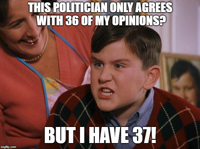 THIS POLITICIAN ONLY AGREES WITH 36 OF MY OPINIONS? BUT I HAVE 37! | image tagged in harry potter dudley's birthday | made w/ Imgflip meme maker