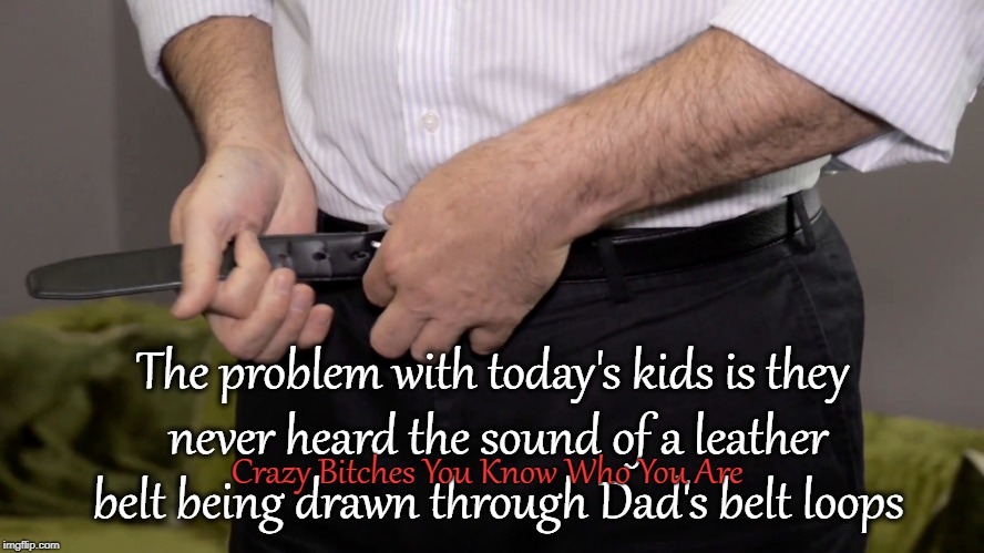 The problem with today's kids is they never heard the sound of a leather belt being drawn through Dad's belt loops Crazy B**ches You Know Wh | image tagged in belt spanking | made w/ Imgflip meme maker