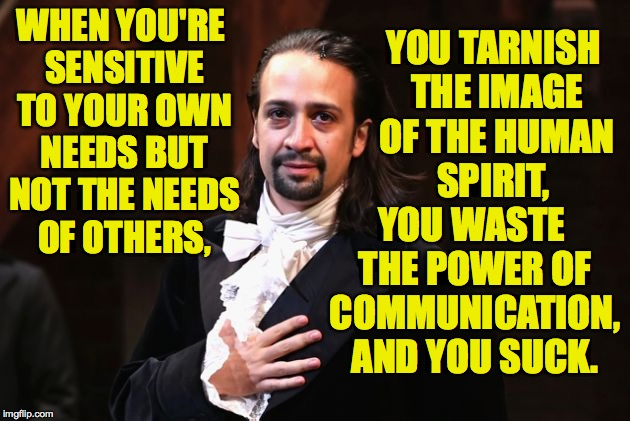 I don't have time to check all my quotes for accuracy. | WHEN YOU'RE SENSITIVE TO YOUR OWN NEEDS BUT NOT THE NEEDS OF OTHERS, YOU WASTE THE POWER OF COMMUNICATION, AND YOU SUCK. YOU TARNISH THE IMA | image tagged in serious hamilton,memes,human spirit | made w/ Imgflip meme maker