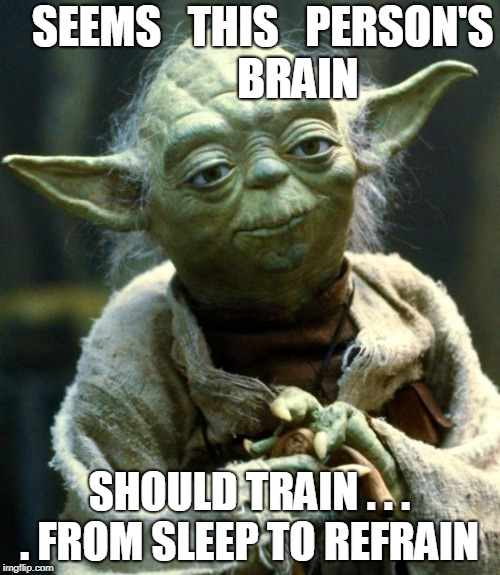 Star Wars Yoda Meme | SEEMS   THIS   PERSON'S           BRAIN SHOULD TRAIN . . . . FROM SLEEP TO REFRAIN | image tagged in memes,star wars yoda | made w/ Imgflip meme maker