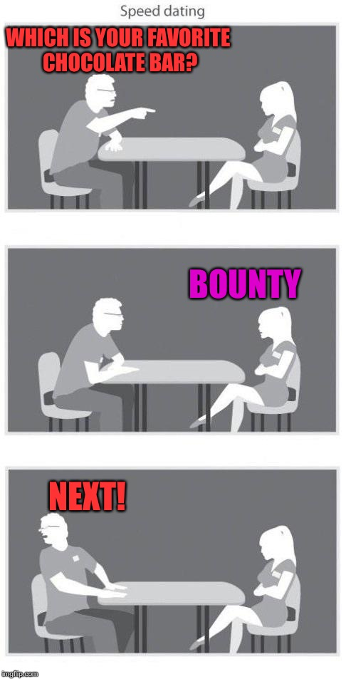 I hate bounty |  WHICH IS YOUR FAVORITE CHOCOLATE BAR? BOUNTY; NEXT! | image tagged in speed dating,memes,unbreaklp,quick,how dare you | made w/ Imgflip meme maker