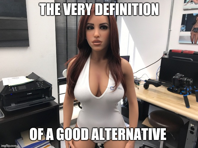 THE VERY DEFINITION OF A GOOD ALTERNATIVE | image tagged in sex doll worried | made w/ Imgflip meme maker