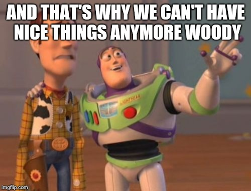 X, X Everywhere Meme | AND THAT'S WHY WE CAN'T HAVE NICE THINGS ANYMORE WOODY | image tagged in memes,x,x everywhere,x x everywhere | made w/ Imgflip meme maker
