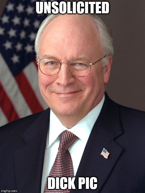 dick cheney | UNSOLICITED DICK PIC | image tagged in dick pic | made w/ Imgflip meme maker