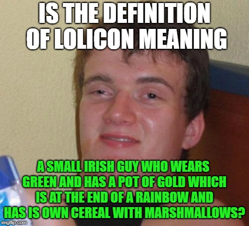 10 Guy Meme | IS THE DEFINITION OF LOLICON MEANING A SMALL IRISH GUY WHO WEARS GREEN AND HAS A POT OF GOLD WHICH IS AT THE END OF A RAINBOW AND HAS IS OWN | image tagged in memes,10 guy | made w/ Imgflip meme maker
