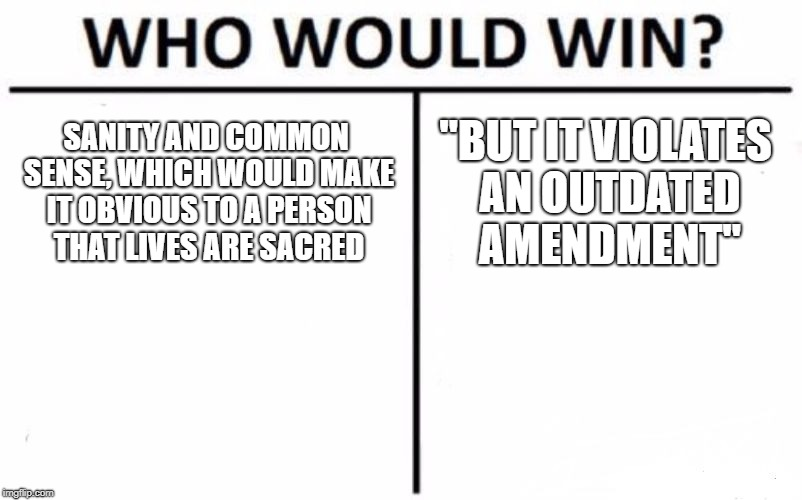 "Some people are just idiots | SANITY AND COMMON SENSE, WHICH WOULD MAKE IT OBVIOUS TO A PERSON THAT LIVES ARE SACRED ""BUT IT VIOLATES AN OUTDATED AMENDMENT"" 