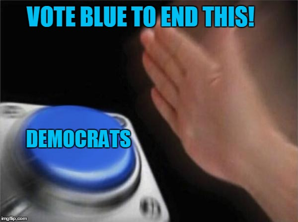 Blank Nut Button Meme | VOTE BLUE TO END THIS! DEMOCRATS | image tagged in memes,blank nut button | made w/ Imgflip meme maker