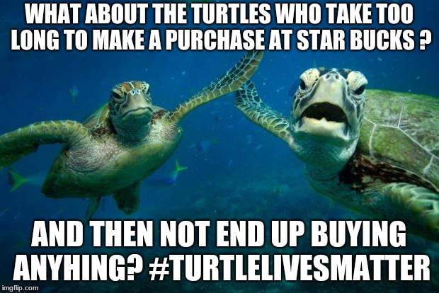 WHAT ABOUT THE TURTLES WHO TAKE TOO LONG TO MAKE A PURCHASE AT STAR BUCKS ? AND THEN NOT END UP BUYING ANYHING? #TURTLELIVESMATTER | image tagged in turtle high five | made w/ Imgflip meme maker