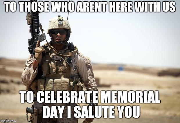 Soldier | TO THOSE WHO ARENT HERE WITH US TO CELEBRATE MEMORIAL DAY I SALUTE YOU | image tagged in soldier | made w/ Imgflip meme maker