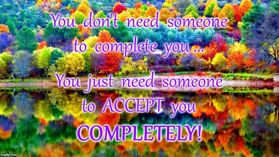 Accepting U Completely | You  don't  need  someone COMPLETELY! to  complete  you ... You  just  need  someone to  ACCEPT  you | image tagged in what u need,to complete you | made w/ Imgflip meme maker