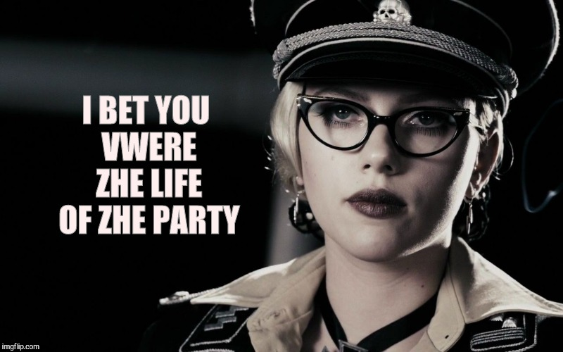 Scarlett Johansson, Silkin Floss,  The Spirit | I BET YOU VWERE ZHE LIFE OF ZHE PARTY | image tagged in scarlett johansson,silkin floss,the spirit | made w/ Imgflip meme maker