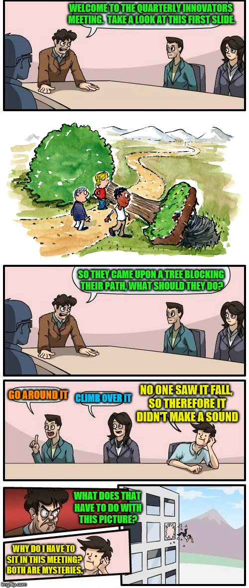 Unnecessary meetings | WELCOME TO THE QUARTERLY INNOVATORS MEETING.  TAKE A LOOK AT THIS FIRST SLIDE. SO THEY CAME UPON A TREE BLOCKING THEIR PATH, WHAT SHOULD THE | image tagged in memes,boardroom meeting suggestion,innovators,if a tree falls in the forest | made w/ Imgflip meme maker