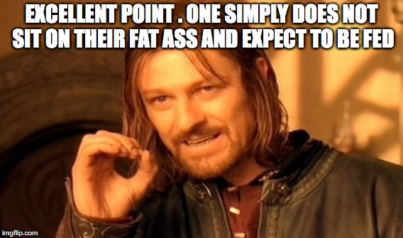 One Does Not Simply Meme | EXCELLENT POINT . ONE SIMPLY DOES NOT SIT ON THEIR FAT ASS AND EXPECT TO BE FED | image tagged in memes,one does not simply | made w/ Imgflip meme maker
