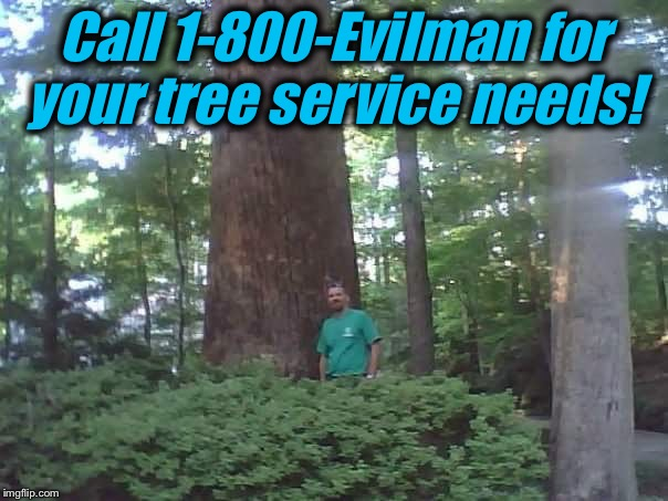 Call 1-800-Evilman for your tree service needs! | made w/ Imgflip meme maker