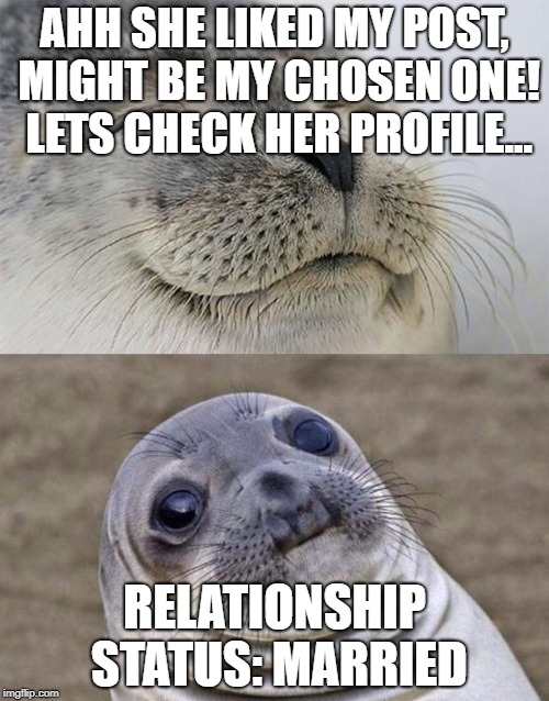 Short Satisfaction VS Truth Meme | AHH SHE LIKED MY POST, MIGHT BE MY CHOSEN ONE! LETS CHECK HER PROFILE... RELATIONSHIP STATUS: MARRIED | image tagged in memes,short satisfaction vs truth | made w/ Imgflip meme maker