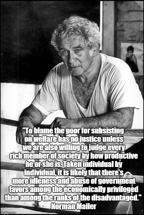 "Norman Mailer On Wealth, Poverty And Idleness |  ""To blame the poor for subsisting on welfare has no justice unless we are also willing to judge every rich member of society by how productive he or she is. Taken individual by individual, it is likely that there's more idleness and abuse of government favors among the economically privileged than among the ranks of the disadvantaged.""; Norman Mailer 