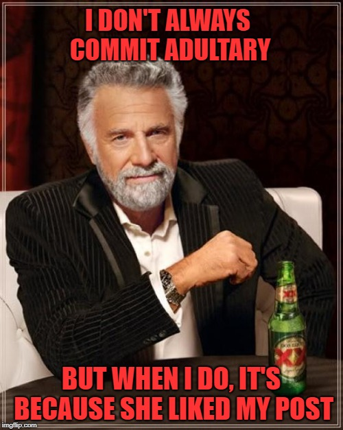 The Most Interesting Man In The World Meme | I DON'T ALWAYS COMMIT ADULTARY BUT WHEN I DO, IT'S BECAUSE SHE LIKED MY POST | image tagged in memes,the most interesting man in the world | made w/ Imgflip meme maker