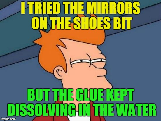 Futurama Fry Meme | I TRIED THE MIRRORS ON THE SHOES BIT BUT THE GLUE KEPT DISSOLVING IN THE WATER | image tagged in memes,futurama fry | made w/ Imgflip meme maker