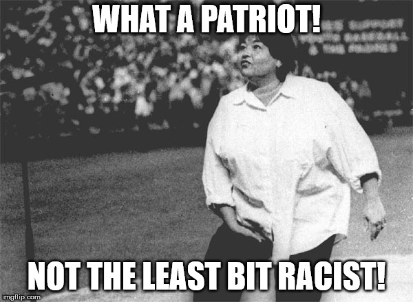 WHAT A PATRIOT! NOT THE LEAST BIT RACIST! | image tagged in roseanne barr national anthem | made w/ Imgflip meme maker