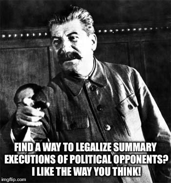 FIND A WAY TO LEGALIZE SUMMARY EXECUTIONS OF POLITICAL OPPONENTS? I LIKE THE WAY YOU THINK! | made w/ Imgflip meme maker
