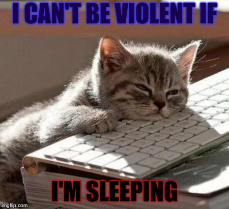 tired cat | I CAN'T BE VIOLENT IF I'M SLEEPING | image tagged in tired cat | made w/ Imgflip meme maker