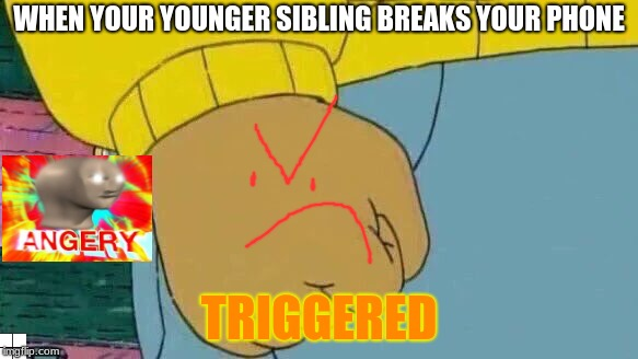 Arthur Fist Meme | WHEN YOUR YOUNGER SIBLING BREAKS YOUR PHONE TRIGGERED | image tagged in memes,arthur fist | made w/ Imgflip meme maker