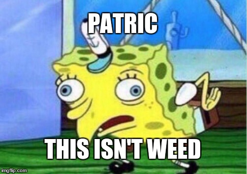 Mistaken weed | PATRIC THIS ISN'T WEED | image tagged in memes,mocking spongebob | made w/ Imgflip meme maker