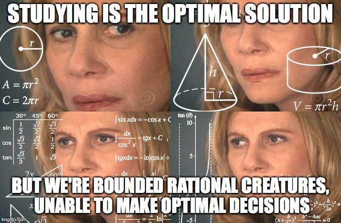 STUDYING IS THE OPTIMAL SOLUTION BUT WE'RE BOUNDED RATIONAL CREATURES, UNABLE TO MAKE OPTIMAL DECISIONS | image tagged in calculating meme | made w/ Imgflip meme maker