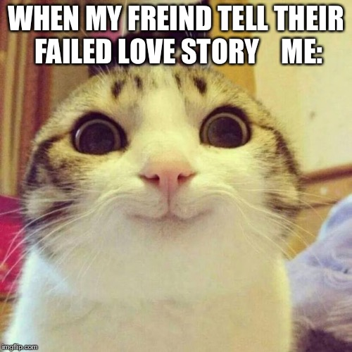 Smiling Cat | WHEN MY FREIND TELL THEIR FAILED LOVE STORY    ME: | image tagged in memes,smiling cat | made w/ Imgflip meme maker