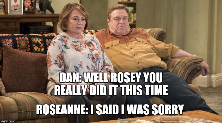 It was a freaking joke  | ROSEANNE: I SAID I WAS SORRY DAN: WELL ROSEY YOU REALLY DID IT THIS TIME | image tagged in roseanne,planet of the apes,politics,donald trump,muslim | made w/ Imgflip meme maker