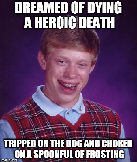 Bad Luck Brian Meme | DREAMED OF DYING A HEROIC DEATH TRIPPED ON THE DOG AND CHOKED ON A SPOONFUL OF FROSTING | image tagged in memes,bad luck brian | made w/ Imgflip meme maker
