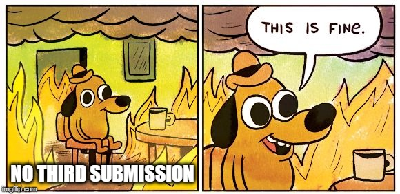 This is fine dog | NO THIRD SUBMISSION | image tagged in this is fine dog,meanwhile on imgflip,third submission,i was told there would be | made w/ Imgflip meme maker